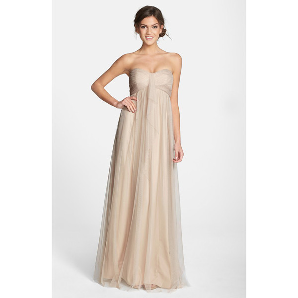 AMSALE drape strapless tulle gown - Tissue-weight tulle is expertly shirred and wrapped around...