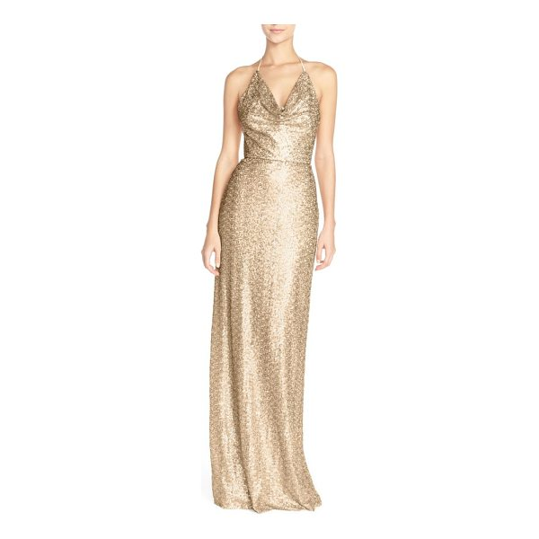 AMSALE 'honora' draped sequin tulle halter gown - Thousands of light-catching sequins add radiant shimmer to...