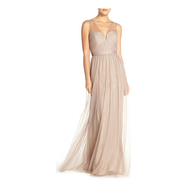 AMSALE 'alyce' illusion v-neck pleat tulle gown - Precisely pleated tulle wraps the strapless bodice of a...