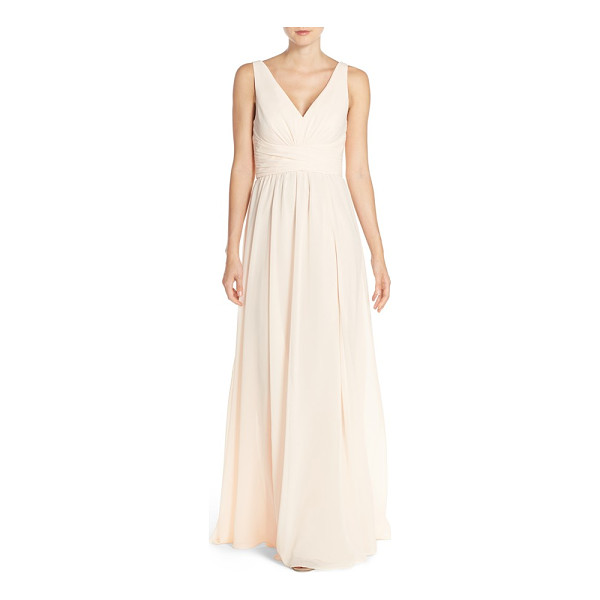 AMSALE 'justine' double v-neck chiffon gown - Ruched panels wrap the waist to accentuate the narrowest...