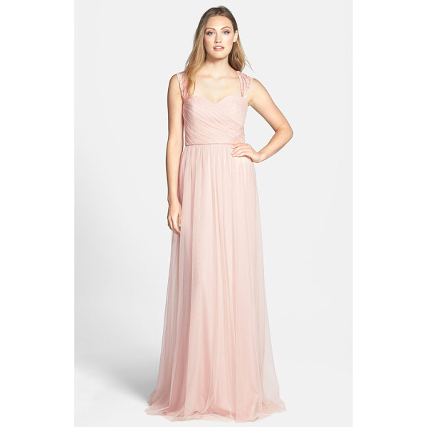 AMSALE lace detail tulle gown - Lace styles the straps and veils the upper back of a...