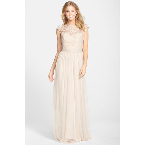 AMSALE lace & tulle cap sleeve gown - Lovely lace styles the fluttering cap sleeves, illusion...