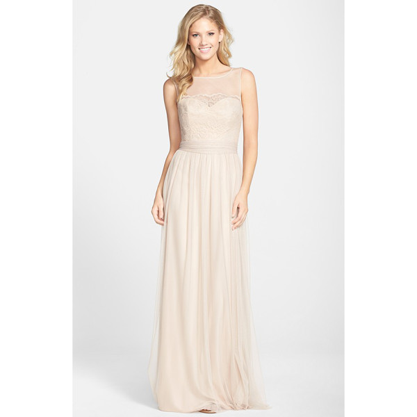 AMSALE lace & tulle gown - Delicate lace overlays a tulle bodice to create a sweet...