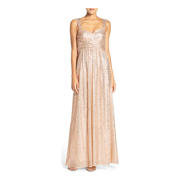 AMSALE 'loire' sweetheart neck sequin gown - Allover sequins bring glam shimmer to a beguiling gown that...