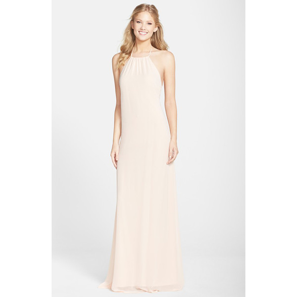 AMSALE open back chiffon halter gown - Simple and sultry, this A-line gown tethered to halter ties...