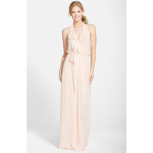 AMSALE long chiffon wrap dress - A cascading ruffle emphasizes the flattering wrapped front...