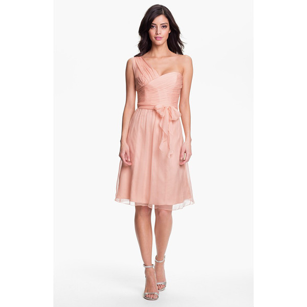 AMSALE one-shoulder crinkle silk chiffon dress - A delicately textured wrap bodice shapes the contemporary,...