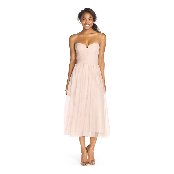 AMSALE pleat tulle strapless tea length dress - Pleats radiate from the alluringly notched neckline to...