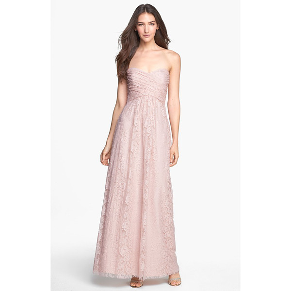 AMSALE pleated lace sweetheart gown - Rich lace composes this sweetheart-neckline gown pairing a...