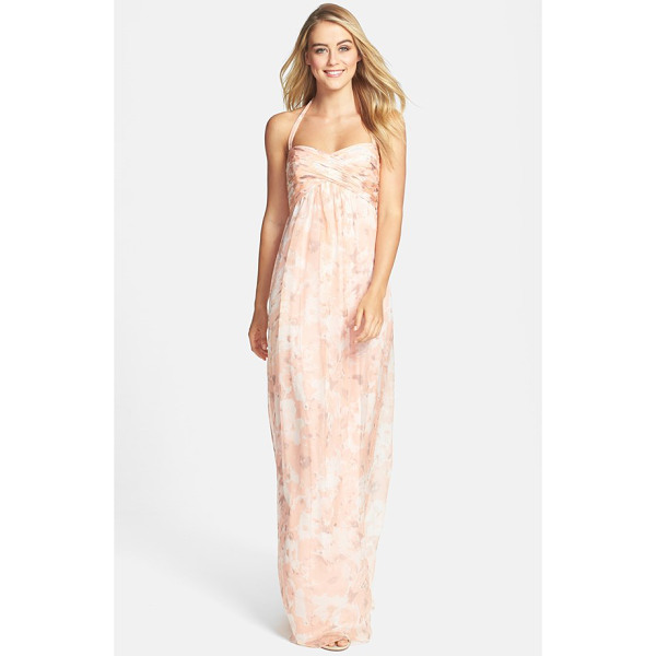 AMSALE print crinkled silk chiffon halter gown - This dreamy halter gown cut from luxurious silk chiffon...