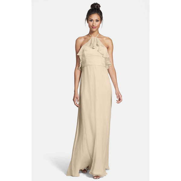 AMSALE ruffle crinkled silk chiffon halter gown - A diaphanous ruffle ripples from the dainty halter ribbon...
