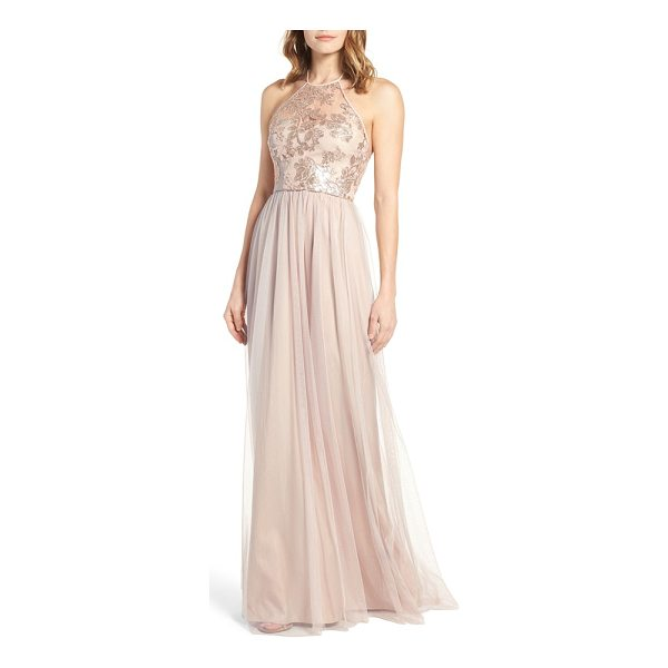 AMSALE sheridan sequin halter dress - Look angelic and ethereal in a romantic halter gown that's...