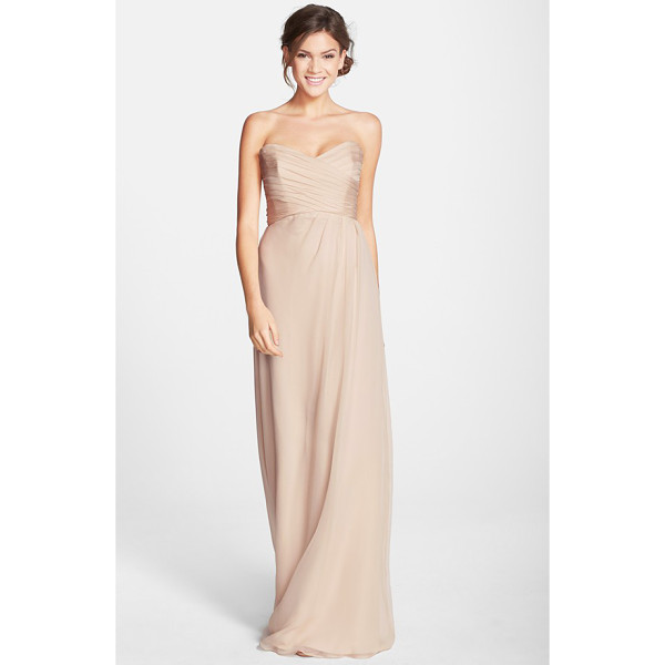 AMSALE strapless crinkle chiffon gown - Ruching flatters the bodice of a silk chiffon gown...