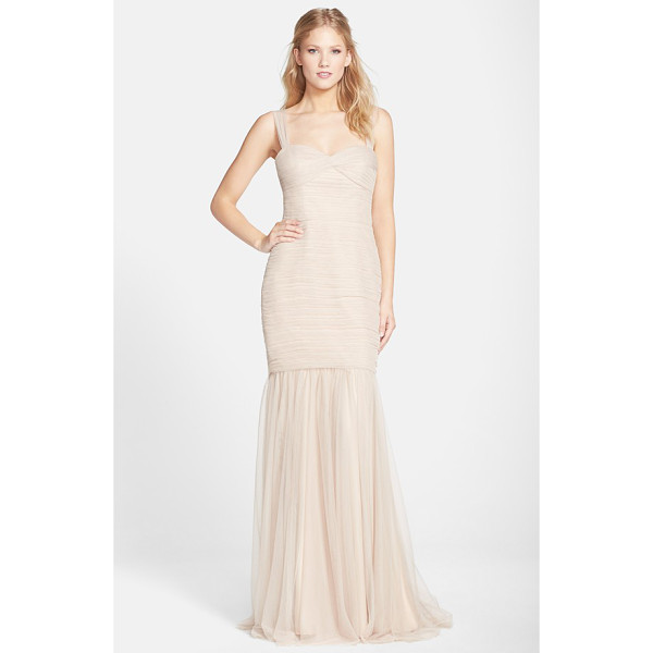 AMSALE tulle mermaid gown - Meticulously pleated tulle flatters the figure from the...