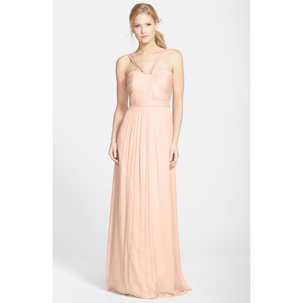 AMSALE x-strap silk chiffon gown - Fine, radiating pleats texture the fitted bodice of a...