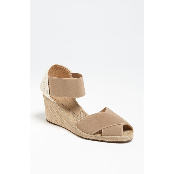 ANDRE ASSOUS erika sandal - A beachy, jute wedge lifts a breezy sandal with stretchy...