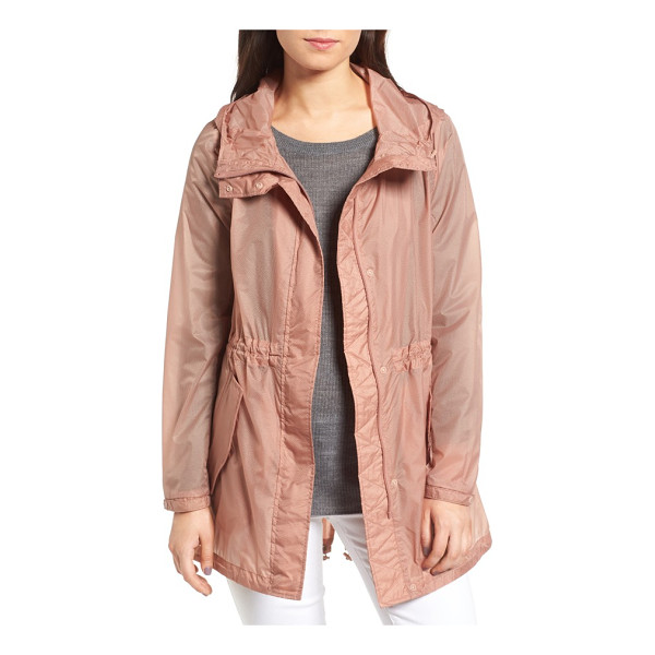 ANDREW MARC teri translucent rain jacket - Textured and translucent, a water-resistant hooded jacket...