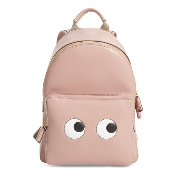 ANYA HINDMARCH eyes mini leather backpack - Curious eyes keep an eye out at the pocket of a playful...
