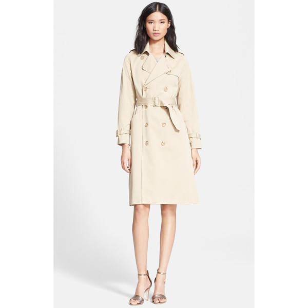 A.P.C. double breasted gabardine trench coat - A creamy monochromatic palette and fuller A-line silhouette...