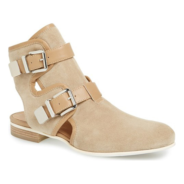 AQUATALIA coy suede cutout boot - A bold heel cutout instantly updates a chic, classic...