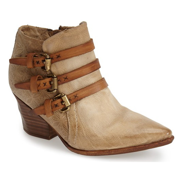 A.S.98 stanford leather western bootie - Contrast buckle straps and eye-catching heel embossing...