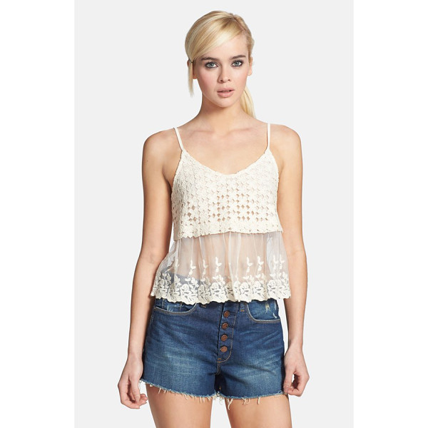 ASTR THE LABEL crochet & embroidered mesh camisole - Summertime crochet crowns wispy embroidered mesh to form a...