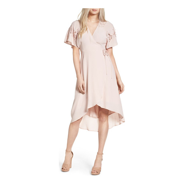 ASTR THE LABEL crochet sleeve wrap dress - Breezy crocheted patches add to the sweet femininity of...