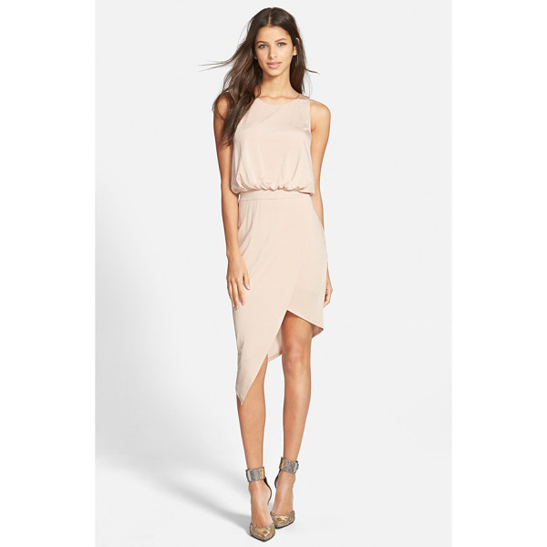 ASTR THE LABEL draped asymmetrical sleeveless dress - An edgy asymmetrical hem lends leg-baring drama to a sweet,...