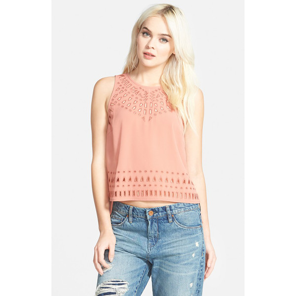 ASTR THE LABEL embroidered cutout crop top - Embroidered front cutwork lends captivating detail to a...