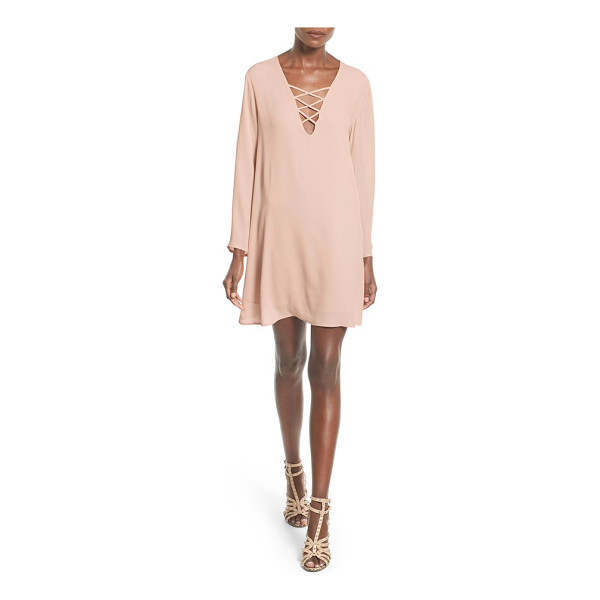 ASTR THE LABEL lace-up bell sleeve shift dress - Slender straps crisscross the plunging neckline of a breezy...