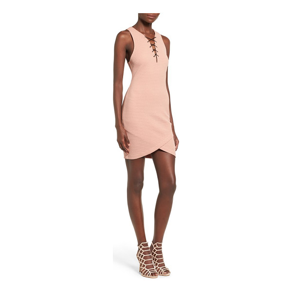 ASTR THE LABEL lace-up body-con dress - A flirtatious lace-up neckline and crossover tulip hem...