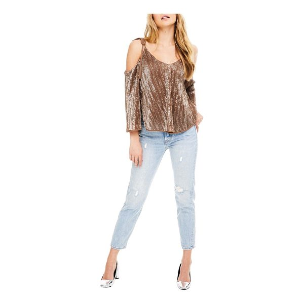 ASTR THE LABEL adison cold shoulder top - There's no such thing as too much bling and this sequined...