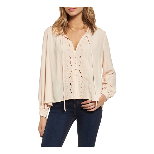 ASTR THE LABEL madina blouse - Embroidery and openwork detailing frame the button front of...
