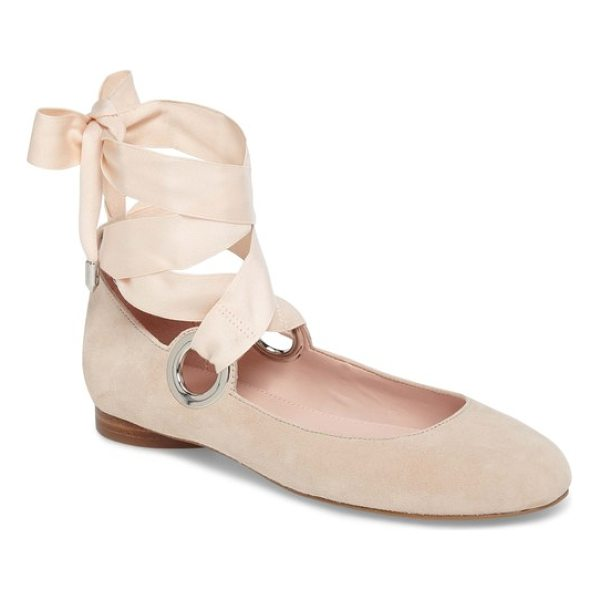 AVEC LES FILLES miri lace-up flat - Gleaming grommets call attention to a lovely ballet flat,...