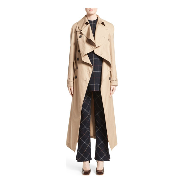 A.W.A.K.E. oversized cotton trench coat - A dramatic oversized collar adds panache to a flattering...