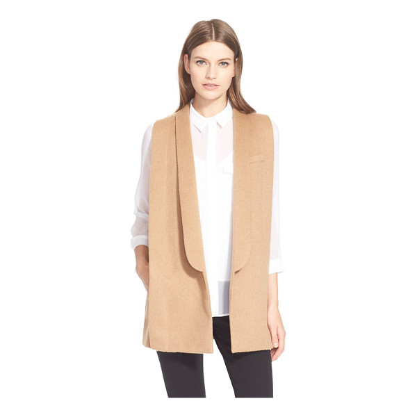 AYR the copper penguin sleeveless shawl collar jacket - Soft, dense camel hair is tailored into a sleeveless,...