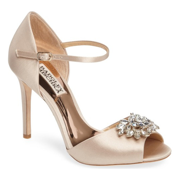 BADGLEY MISCHKA ankle strap pump - A faceted crystal ornament dazzles at the toe of a sleek