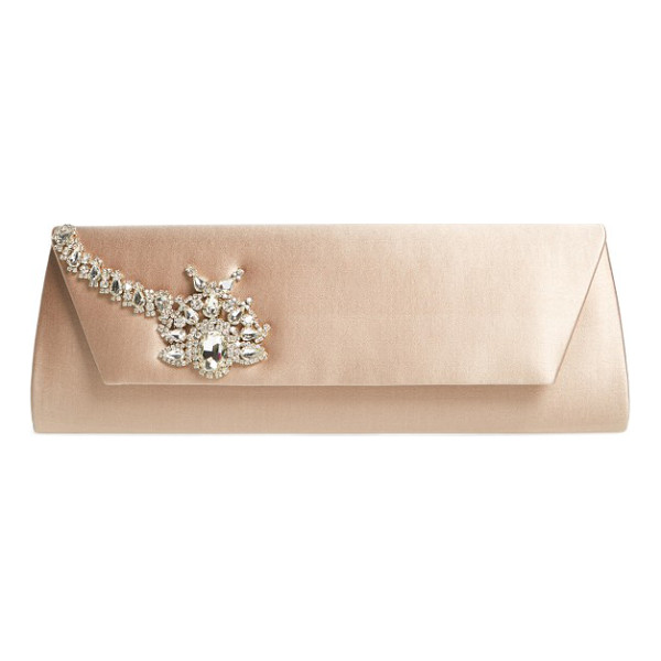 BADGLEY MISCHKA aria clutch - A sparkling crystal ornament dazzles on the flap of a