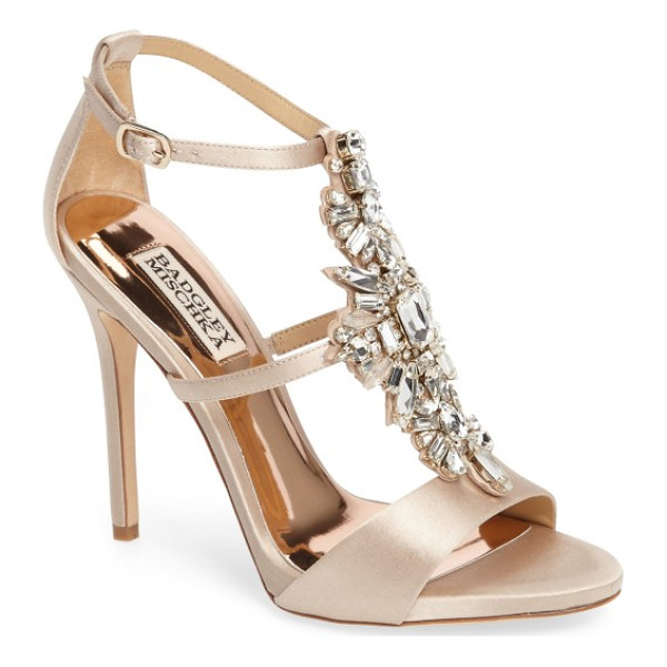 BADGLEY MISCHKA basile crystal embellished sandal - Decadent crystals sparkle along the T-strap of an