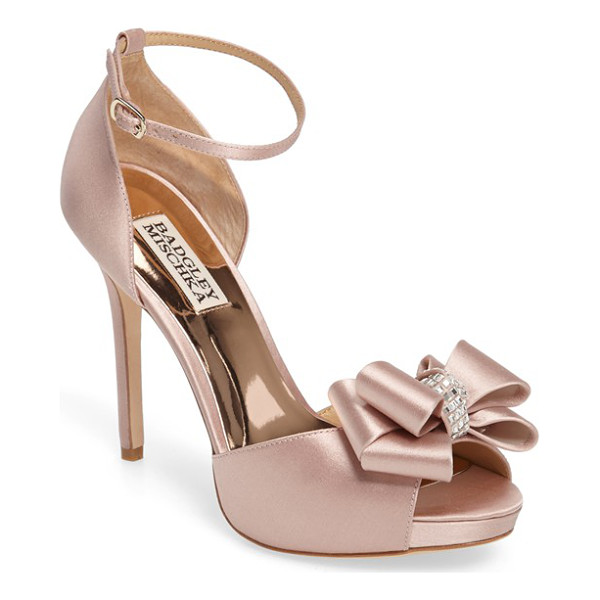 BADGLEY MISCHKA becky platform sandal - A crystal-encrusted bow provides an elegant accent for a...