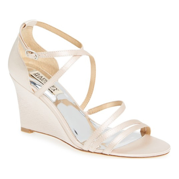 BADGLEY MISCHKA bonanza strappy wedge sandal - Slender straps arch over the open toe and crisscross in...