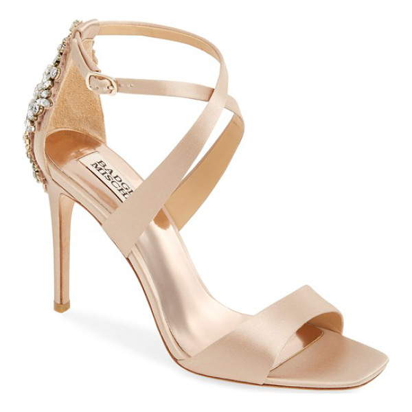 BADGLEY MISCHKA cadence crystal embellished sandal - An extravagant crystal brooch wraps the heel of a gorgeous...