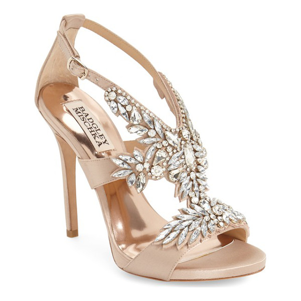 BADGLEY MISCHKA capella crystal embellished platform sandal - A dazzling array of mixed crystals blooms across the V-cut...