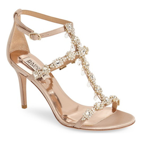 BADGLEY MISCHKA cascade crystal embellished t-strap sandal - Delicate raindrop crystals dangle from the extravagantly...