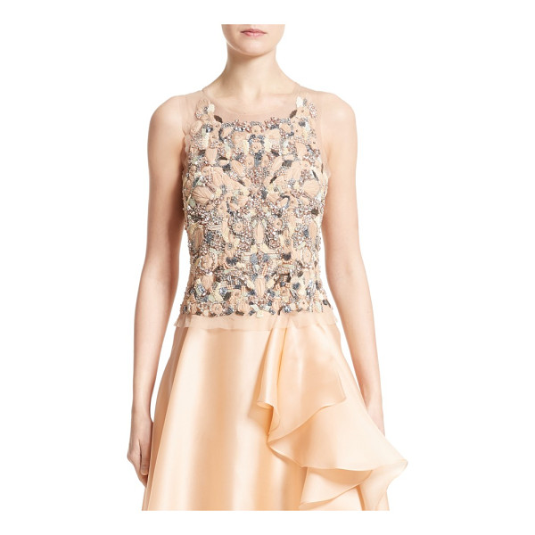 BADGLEY MISCHKA COUTURE badgley mischka couture beaded top - Ornate embellishment floats on a delicate mesh top that...