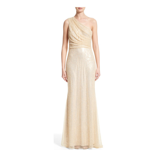 BADGLEY MISCHKA COUTURE badgley mischka couture one shoulder beaded mesh gown - Artfully draped from one shoulder, an ethereal mesh gown...