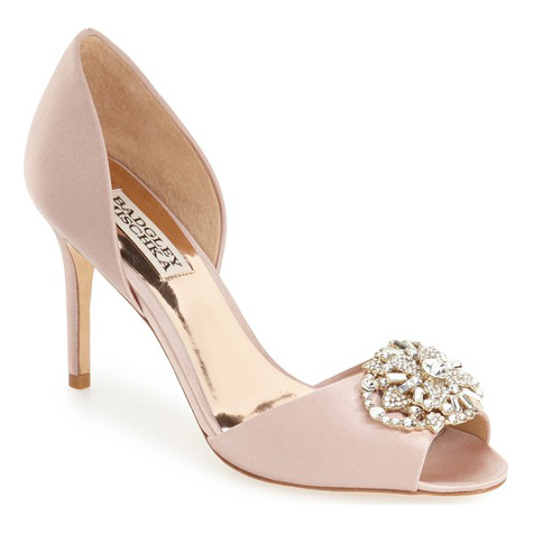 BADGLEY MISCHKA 'dana' crystal embellished d'orsay pump - An elaborate crystal brooch glams up an elegant satin...