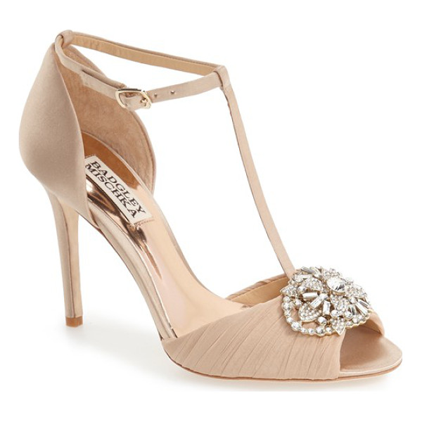 BADGLEY MISCHKA 'darling' t-strap pump - A sparkling crystal ornament and pleated chiffon heighten...
