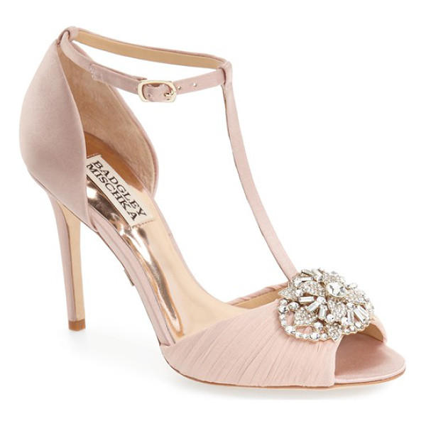 BADGLEY MISCHKA darling t-strap pump - A sparkling crystal ornament and pleated chiffon heighten...