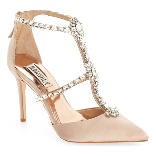BADGLEY MISCHKA 'decker' crystal embellished t-strap pump - Slender rows of shimmering crystals climb the T-strap and...